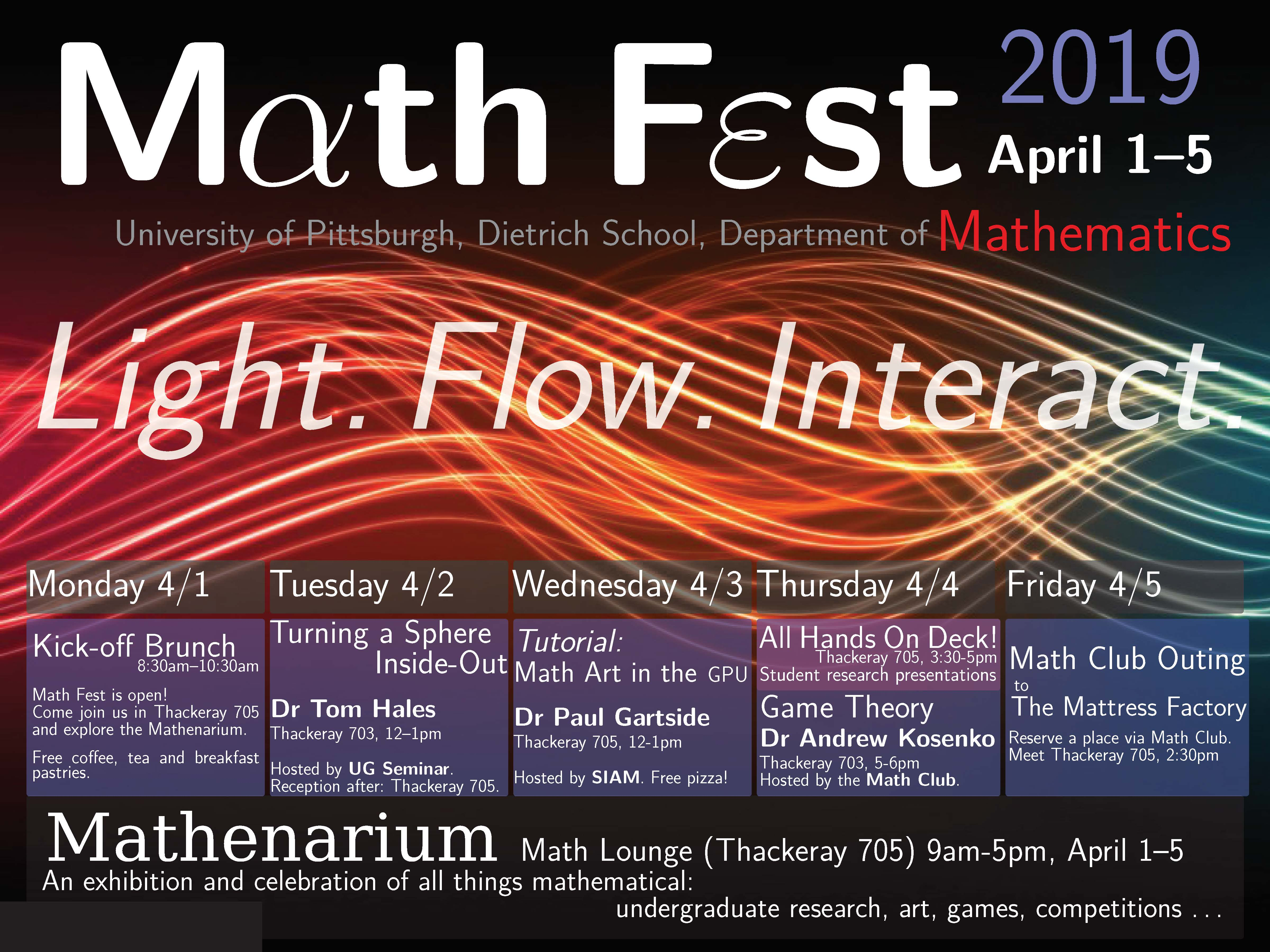 Department of Mathematics presents Math Fest 2019. April 1st through April 5th.